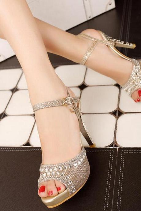 Pumps Heels Women Fashion Sexy Rhinestone Hasp Thin High Heel Pumps Peep Toe Solid Sandals