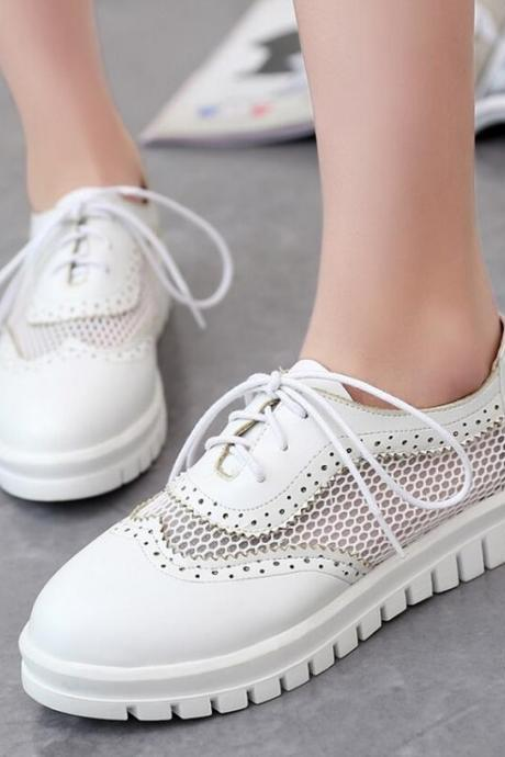 Sneakers Women Fashion Mesh Casual Flat Mixed Colors Round Toe