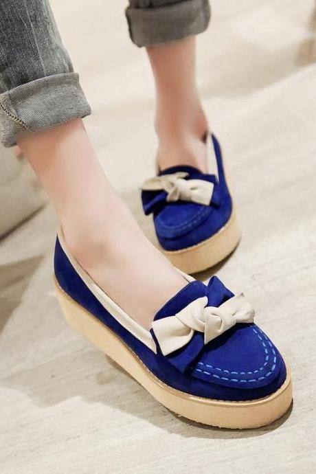 Moccasins Women Suede Bow Platform Mixed Colors Round Toe Flat
