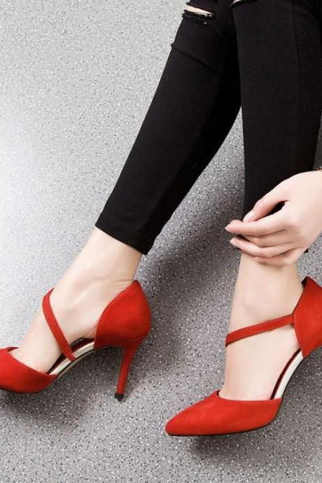 Women Suede Side Hollow Pointy Toe High Heel Sandals