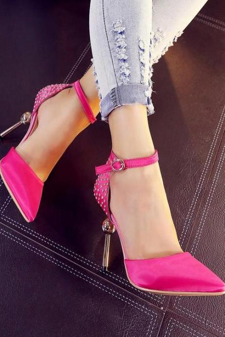 Womens Rivet Pointy Toe High Heel Sexy Stiletto Club Sandals