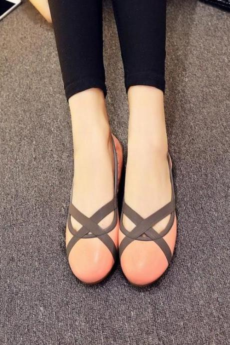 Womens Cross Bandage Mixed Colors Round Toe Ballerina