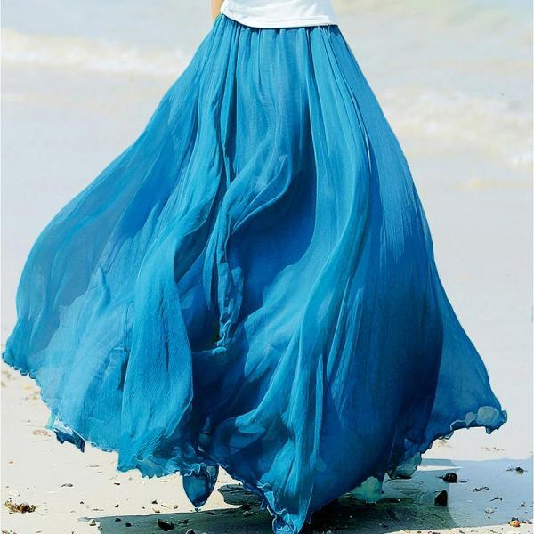 New Fashion Blue Bohemia Summer Beach Long Skirts