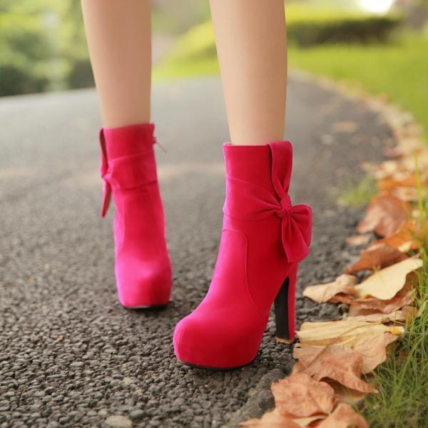 Women Solid Casual British High-heeled Bowknot Ankle Boots