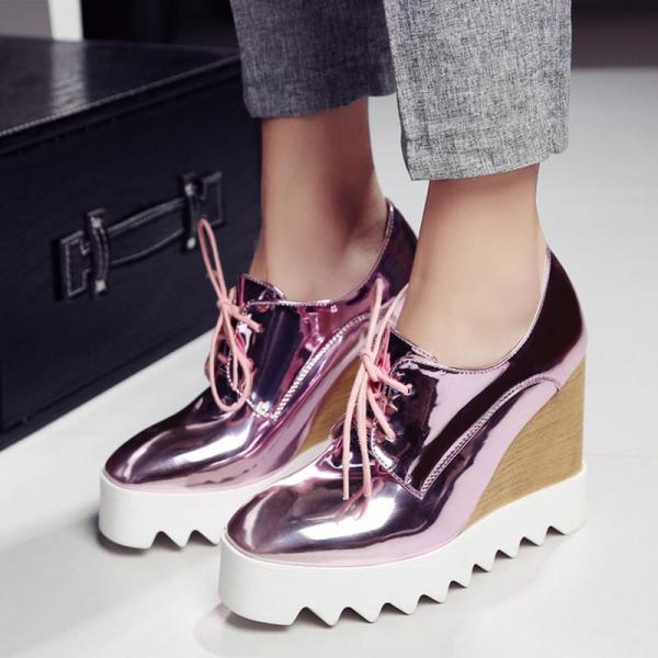 Sneakers Women Wedges Platform Patent Leather Casual Creepers