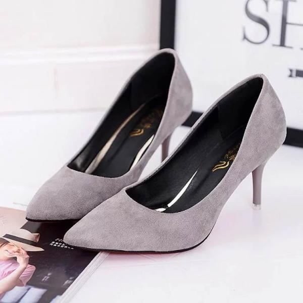 Faux Suede Pointed Toe Kitten Heels