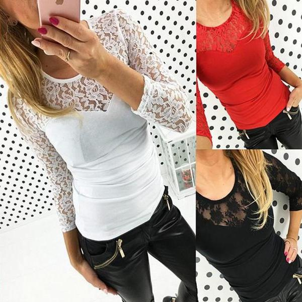 Womens Sexy Lace Collar Long Sleeve Blouse