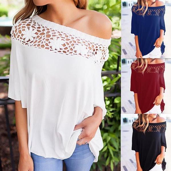 2017 Womens Pure Color Hollow Floral Lace Off Shoulder 1/2 Long Sleeve Blouse