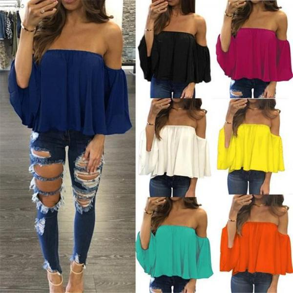 Off Shoulder Strapless Chiffon Long-sleeve Top