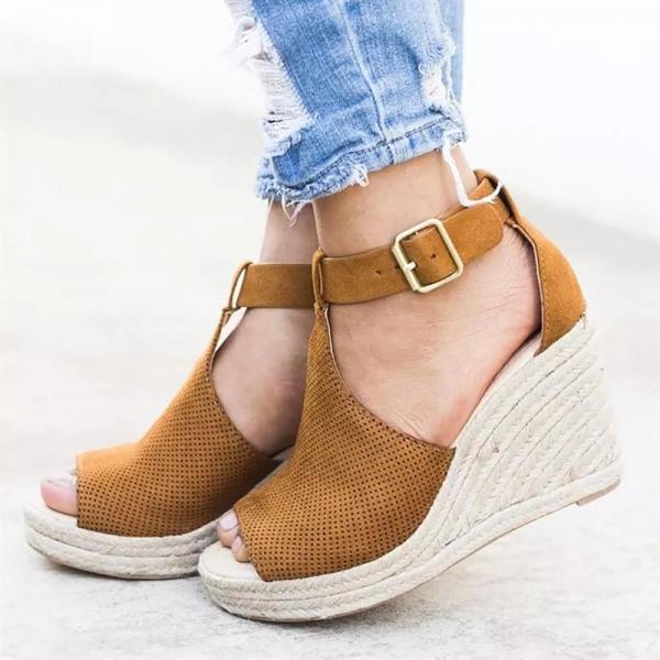 Summer Women Sandals Wedge Peep Toe Shoes High Heels Beach Ladies Shoes Fashion Platform Rome