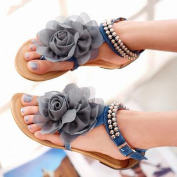 Beige / Pink / Blue Sweaty Women Flat Sandals With Flower On Top Beading Strip Beach Sandals