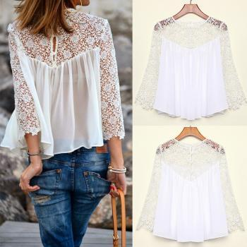 Spring Summer Women Blouses Fashion Casual Lace Shirts Chiffon Blouses White Lace Tops
