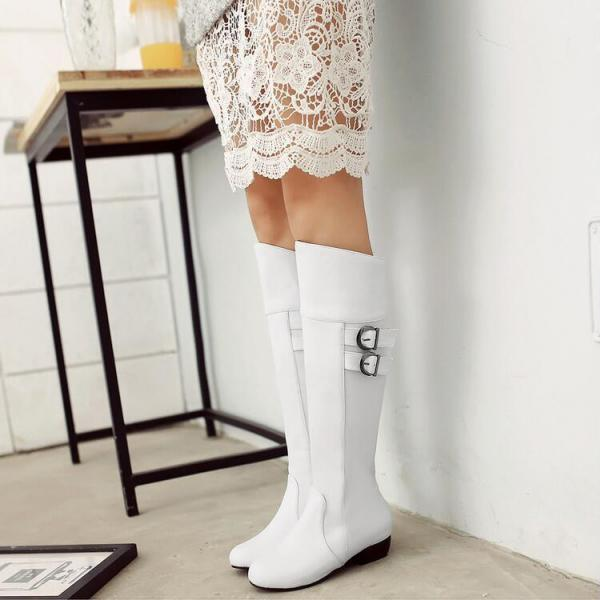 Round-toe Low Thick Heeled Knee-high Boots with Buckle Straps Detail