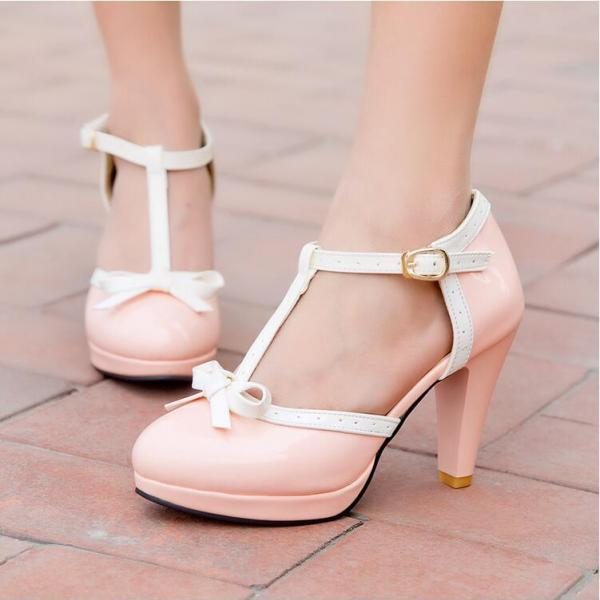 Women's Sweet Fashion Leasure Thick-soled Pumps With Bowknot Decoration