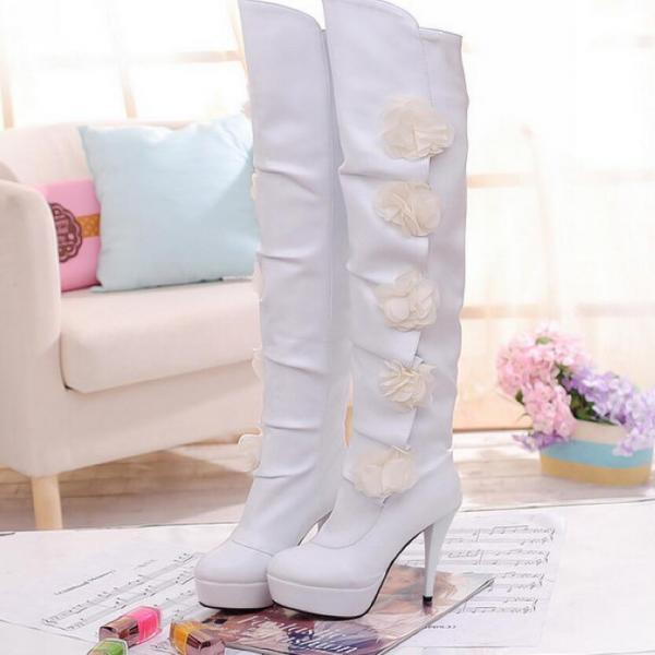 Knee High Boots Women Fashion Strap Solid Flowers