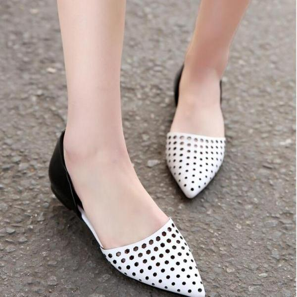 Ballet Flats Women Fashion Leather Pointed Toe Hollow Mixed Colors