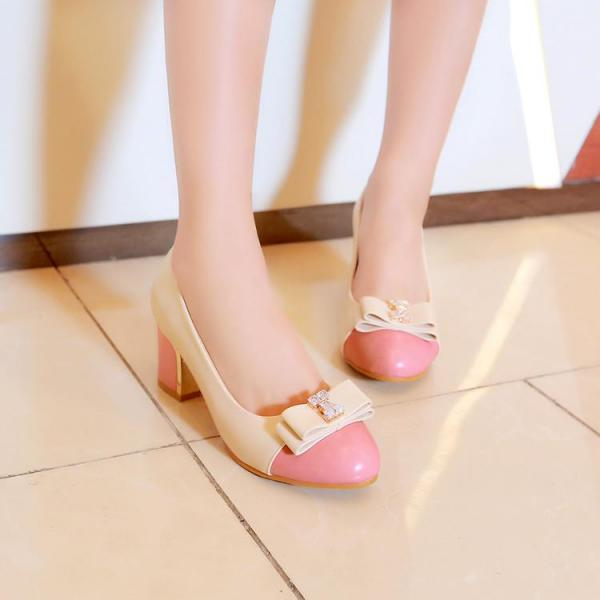 Rounded Toe Cap Toe Chunky Low Heel Pumps with Ribbon and Rhinestone Embellishments