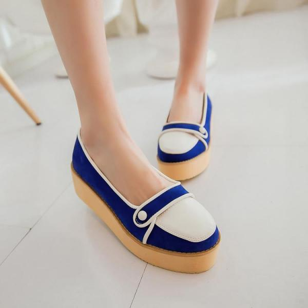 Women Platform Mixed Colors Round Toe Flat Moccasins