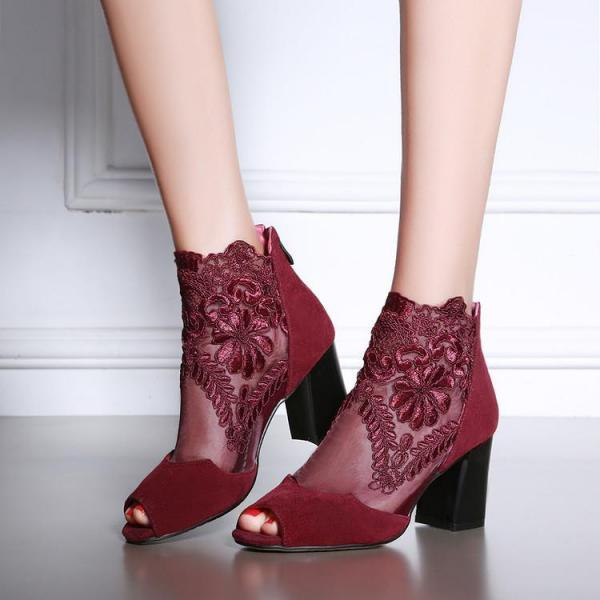 Womens Sexy Lace Open Toe Thick Heel Pumps