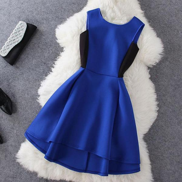 Fashion Blue Sleeveless Prom Dress