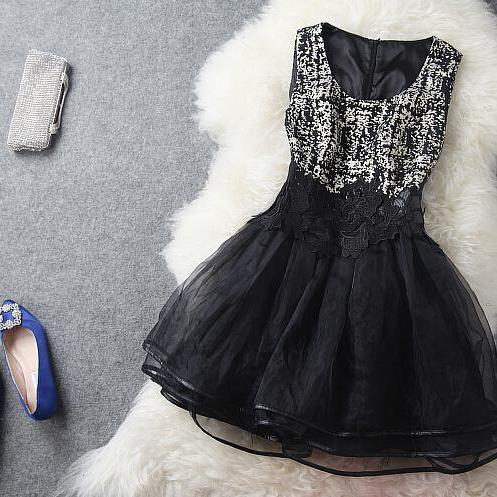 Retro Organza Heavy Embroidery Cultivate Ones Morality Black Dress