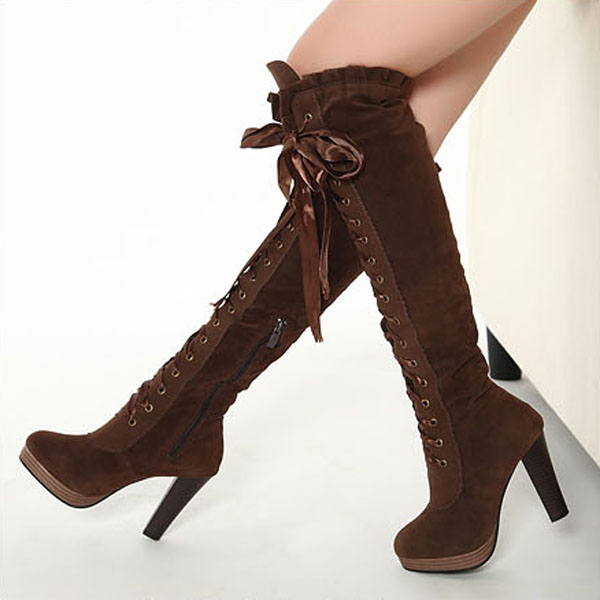 80697dc2165 Ladies Boots Sexy Boots Cross Straps Knee High Boots Thigh High Boots on  Luulla
